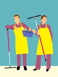 黄色いエプロンを付けた清掃業者のイラスト