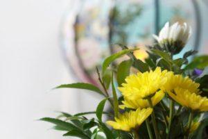 黄色い菊の供花